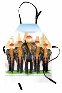 Şemsiyeli Fil Desenli Mutfak Önlüğü Hint Etkili Şık