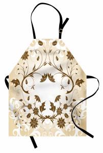 Kahverengi Şık Çiçek Mutfak Önlüğü Dekoratif