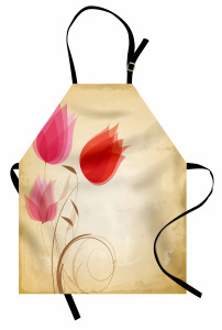 Nostaljik Lale Desenli Mutfak Önlüğü Çeyizlik Şık