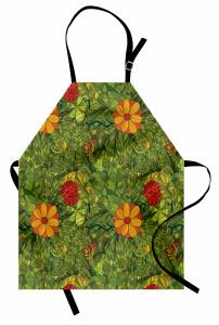 Yeşil Girdap Çiçekleri Mutfak Önlüğü Şık Tasarım