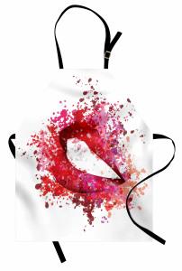Kırmızı Güzel Dudaklar Mutfak Önlüğü Beyaz