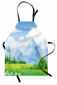 Çayırdaki Çiçek ve Dağ Mutfak Önlüğü Bulut Yeşil