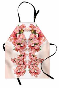 Pembe Bahar Çiçekleri Mutfak Önlüğü Dekoratif Çeyizlik