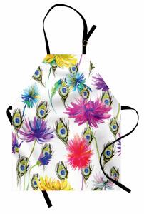Mor ve Sarı Çiçekler Mutfak Önlüğü Bahar Doğa
