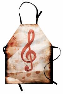 Sol Anahtarı Desenli Mutfak Önlüğü Müzik Nostaljik