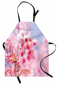 Pembe Çiçek Cümbüşü Mutfak Önlüğü Kır ve Bahar