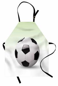 3D Etkili Futbol Topu Mutfak Önlüğü Beyaz Arka Plan