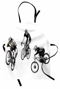 Akrobat Bisikletçiler Mutfak Önlüğü Kara Kalem