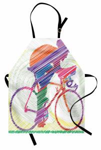 Renkli Bisikletçi Çimen Mutfak Önlüğü Sanatsal