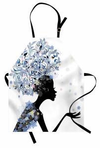 Saçında Çiçek Açan Kız Mutfak Önlüğü Dekoratif