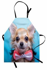 Papyonlu Sevimli Köpek Mutfak Önlüğü Bej Mavi Şık