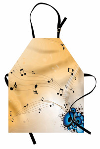 Hoparlörden Çıkan Nota Mutfak Önlüğü Dekoratif