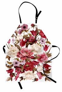 Romantik Çiçek Buketi Mutfak Önlüğü Şık Tasarım