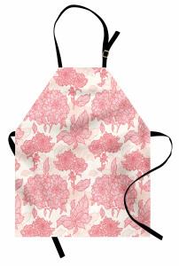 Pembe Çiçek ve Yaprak Mutfak Önlüğü Çeyizlik