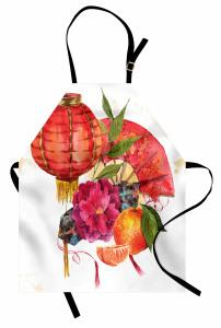 Fener ve Çiçek Desenli Mutfak Önlüğü Sulu Boya Şık