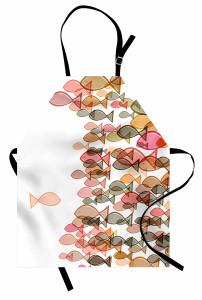 Pembe Balık Desenli Mutfak Önlüğü Deniz Temalı Şık