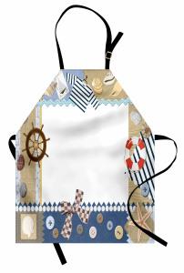 Denizci Çerçeve Desenli Mutfak Önlüğü Dümen Çapa Bej