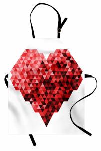 Kırmızı Kristal Kalp Mutfak Önlüğü Geometrik
