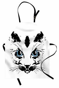 Mavi Gözlü Kedi Mutfak Önlüğü Dekoratif Şık