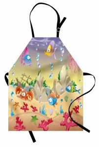 Rengarenk Balık Desenli Mutfak Önlüğü Bej Şık Tasarım