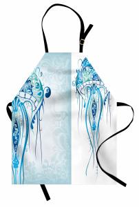 Ahtapot Desenli Mutfak Önlüğü Mavi Deniz Şık Tasarım