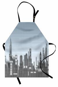 Puantiyeli Gökdelenler Mutfak Önlüğü Modern