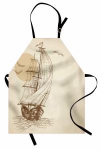 Yelkenli ve Kuş Desenli Mutfak Önlüğü Bej Şık Tasarım