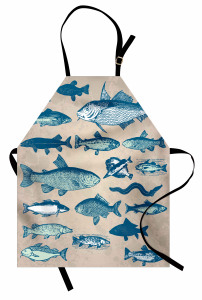 Balık Desenli Mutfak Önlüğü Bej Mavi Şık Tasarım Trend
