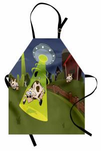 Uzaylılar İneği Kaçırdı Mutfak Önlüğü Ufolar Çiftlikte