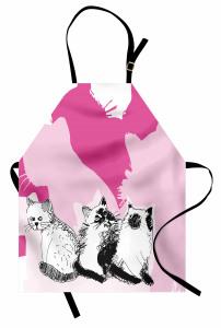 Farklı Yöne Bakan Kedi Mutfak Önlüğü Sevimli