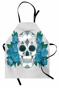Çiçek Desenli Kuru Kafa Mutfak Önlüğü Mavi Güller