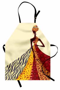 Etekli Afrikalı Kadın Mutfak Önlüğü Etnik