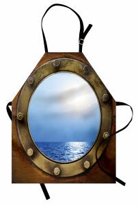 Gemi Kamarası Temalı Mutfak Önlüğü Kahverengi Mavi