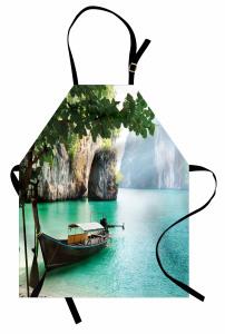 Nehir ve Tekne Temalı Mutfak Önlüğü Yeşil Şık Tasarım