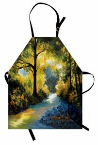 Yeşil Mavi Orman Mutfak Önlüğü Dekoratif