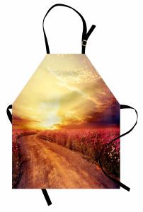 Mor Çiçekli Güneşli Yol Mutfak Önlüğü Gün Doğumu