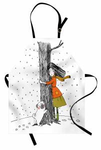 Kız Köpek ve Ağaç Mutfak Önlüğü Dekoratif Şık