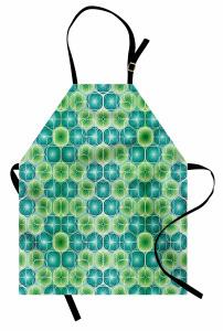 Yeşil Turkuaz Lahana Mutfak Önlüğü Geometrik