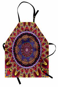 İç İçe Renkli Mandala Mutfak Önlüğü Geometrik