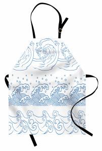 Dalga Desenli Mutfak Önlüğü Lacivert Beyaz Şık Tasarım