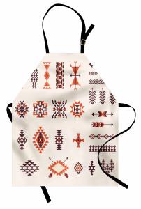 Etnik Kızılderili Mutfak Önlüğü Aztek Turuncu