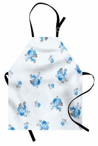 Mavi Gül Desenli Mutfak Önlüğü Çeyizlik Romantik Şık
