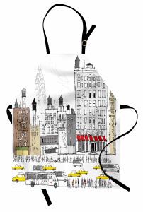 Bina ve Yol Temalı Mutfak Önlüğü Gri Siyah Beyaz Şık