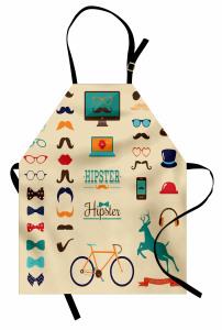 Bej Hipster Desenli Mutfak Önlüğü Bıyık Gözlük Papyon