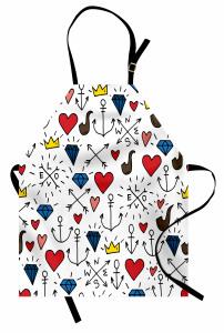 Kalp ve Pipo Desenli Mutfak Önlüğü Romantik Dekoratif
