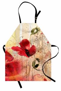 Kırmızı Çiçek Desenli Mutfak Önlüğü Sarı Şık Tasarım