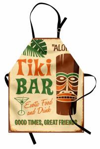 Egzotik Bar Desenli Mutfak Önlüğü Kahverengi Yeşil