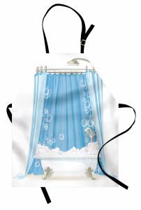 Mavi Duş Perdesi Mutfak Önlüğü Dekoratif Beyaz