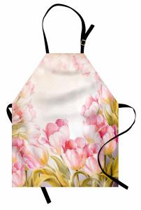 Pembe Romantik Çiçek Mutfak Önlüğü Doğa Bahar Şık