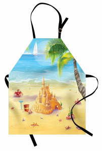 Kumdan Kale Desenli Mutfak Önlüğü Deniz Ağaç Mavi